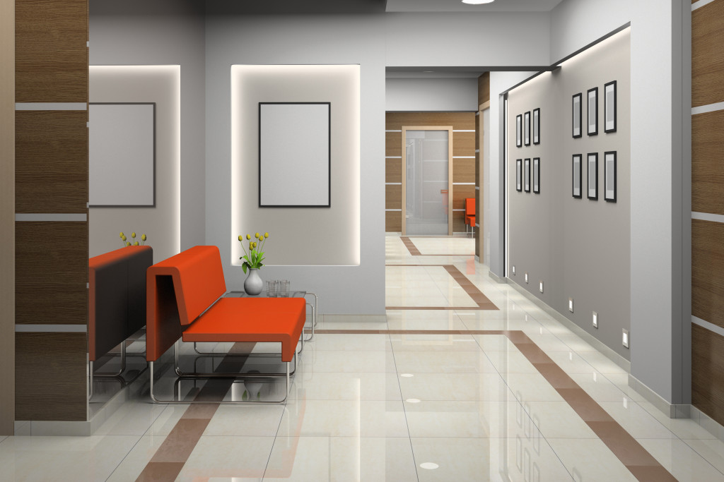 Hall a modern office (3D)